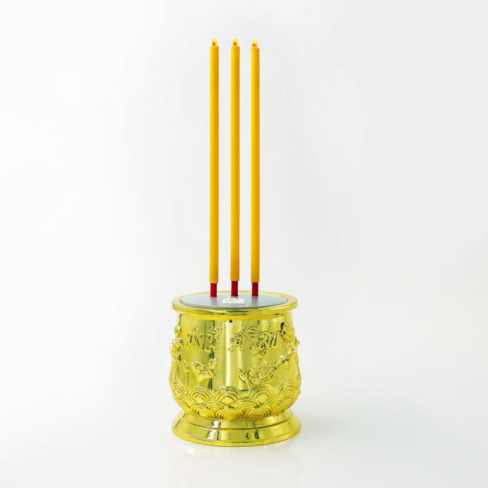 ธูปไฟฟ้า LED 28cm เหลืองทอง 3 ดอก รีโมท CLAIRE PLS