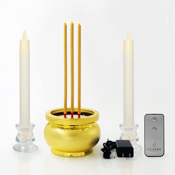 เทียน 25 cm ขาว วิ้งกด เป่าดับ + ธูปไฟฟ้า 30 cm ทอง 3 ดอก  Dual power + เชิงแก้ว 2 นิ้ว 2ชิ้น + รีโมท