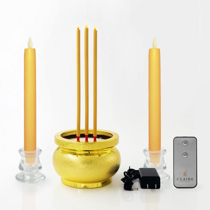 เทียน 25 cm เหลือง วิ้งกด เป่าดับ + ธูปไฟฟ้า 30 cm ทอง 3 ดอก  Dual power + เชิงแก้ว 2 นิ้ว 2ชิ้น + รีโมท