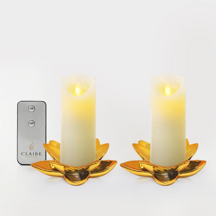 เชิงดอกบัวเซรามิกสีทอง5นิ้ว 2ชิ้น + เทียนมินิ LED เซ็ตคู่ ขาว รีโมท