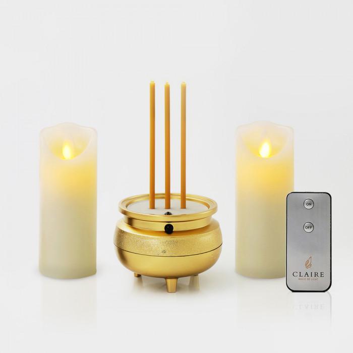 เทียนมินิ LED เซ็ตคู่ ขาว รีโมท + ธูปไฟฟ้ามินิ