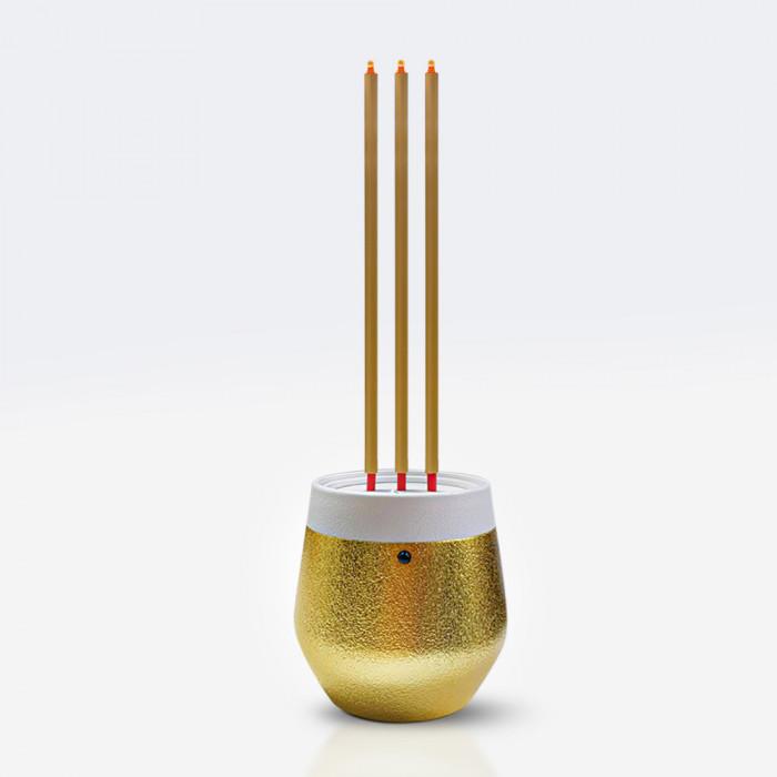 ธูปไฟฟ้า LED 30 cm ขาว ทอง 3 ดอก  CLAIRE PLS
