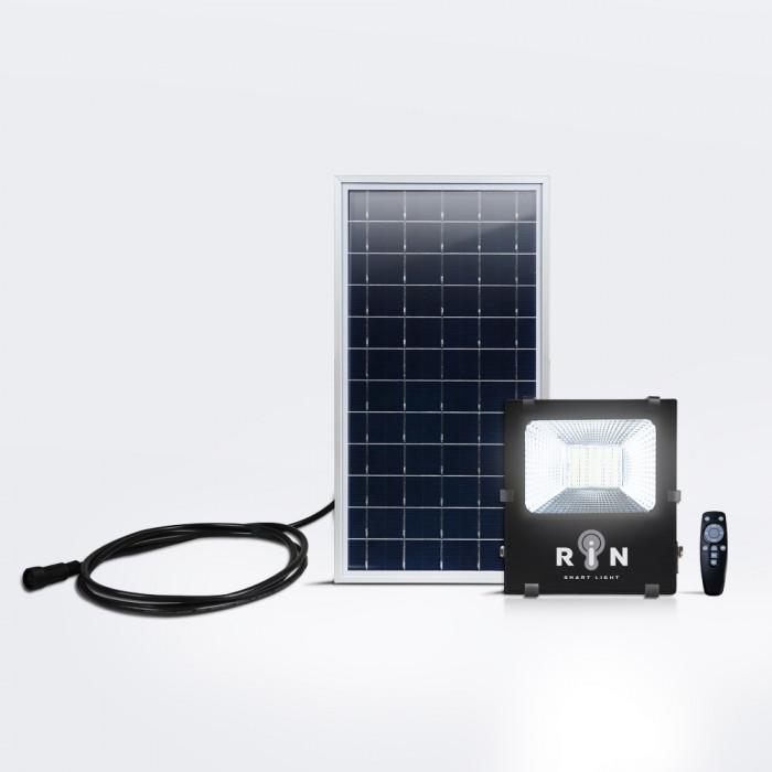 Solar Sensor Flood Light ดำ RIN สี่เหลี่ยม Rated power 50W 91LED รีโมท