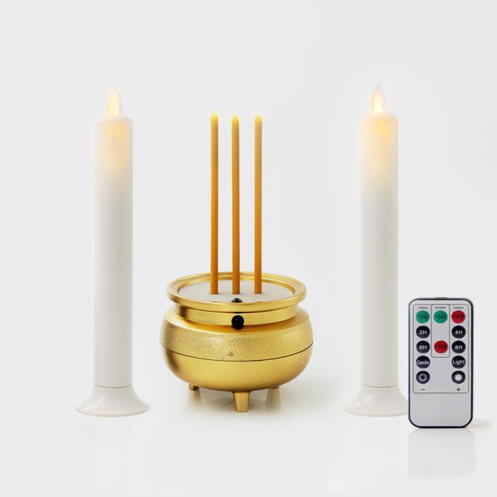 สุดคุ้ม! เชิงเทียน LED แคร์ล สีขาว สูง 20 ซม. 1คู่ พร้อมธูปไฟฟ้ามินิ 3 ดอก เทียนเปลวพลิ้วไหวเสมือนจริง พร้อมรีโมท (เหมาะกับพื้นที่จำกัด)