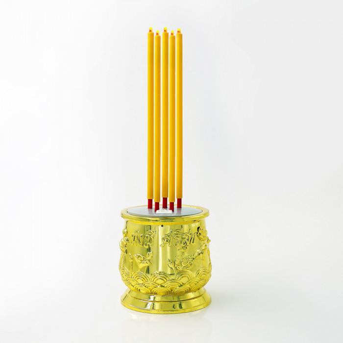 ธูปไฟฟ้า LED 28cm เหลืองทอง 5 ดอก รีโมท RIN PLS